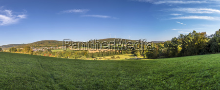 panoramic landscape with alley fields and