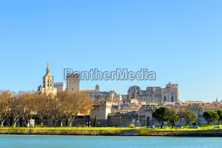 skyline of avignon with gothic building