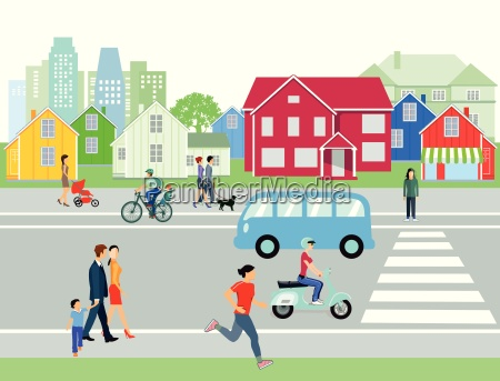 street in the city with people