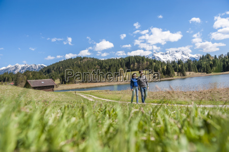 germany bavaria couple walking at lake