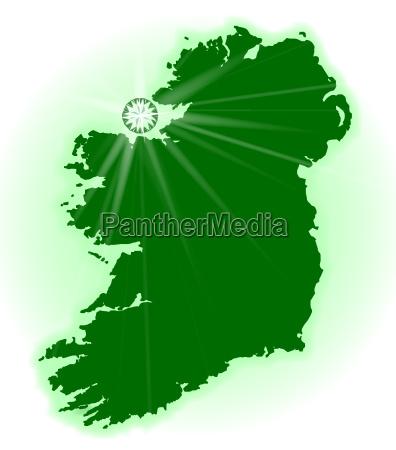 sur silueta irlanda norte gemme mapa
