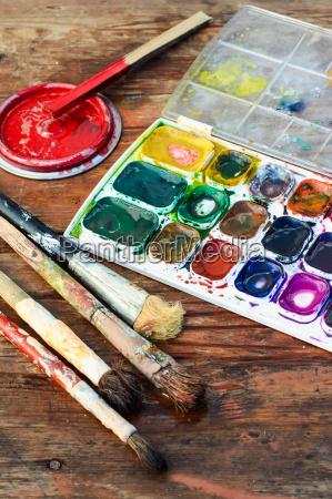 herramienta arte color instrumentos cepillo pintura