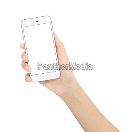 mano sosteniendo el telefono negro aislado