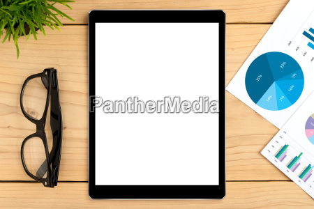 tablet white screen on business table