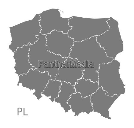 mapa de polonia con regiones grises