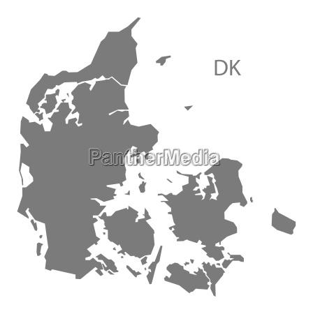 dinamarca mapa gris