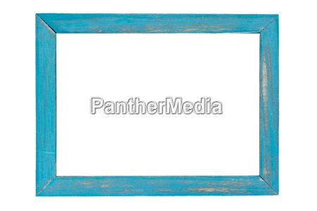 blue wooden photo frame on white