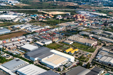 industrial estate factories and housing