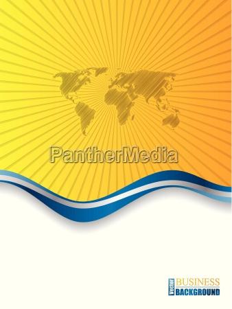 blue orange brochure with world map