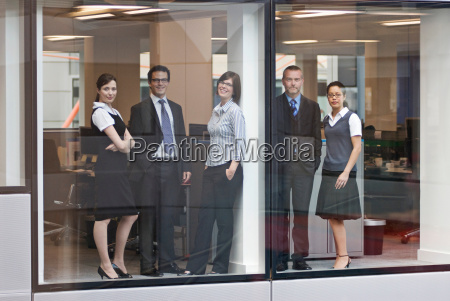 portrait of five business people