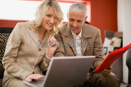 business people working in lounge