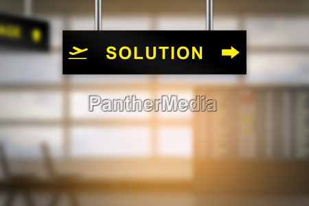 solution on airport sign board