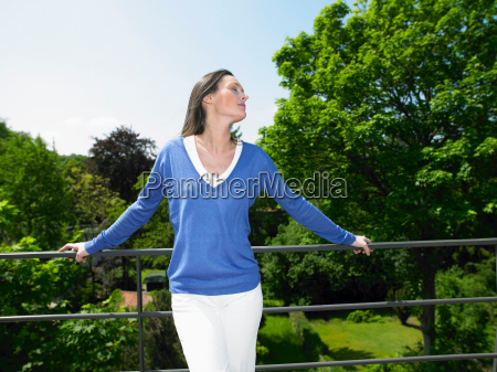 woman enjoying the sun on the