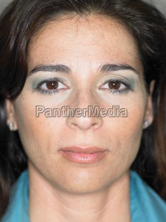 close up portrait of womans face