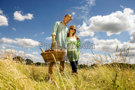 couple, with, picnic, basket, in, field - 18418118