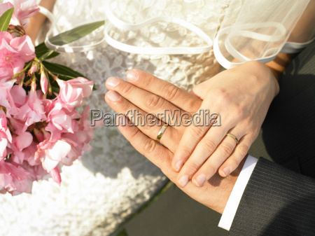 bride and groom hands with wedding