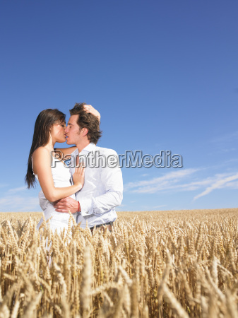 young, couple, in, wheat, field - 18436242