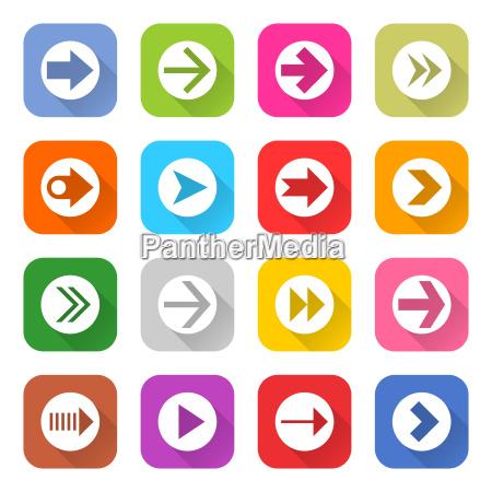arrow sign web icon set flat