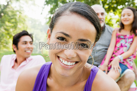 mid adult woman smiling with family
