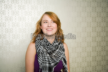 portrait of teenage girl wearing checked