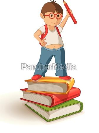 vector illustration of a school boy