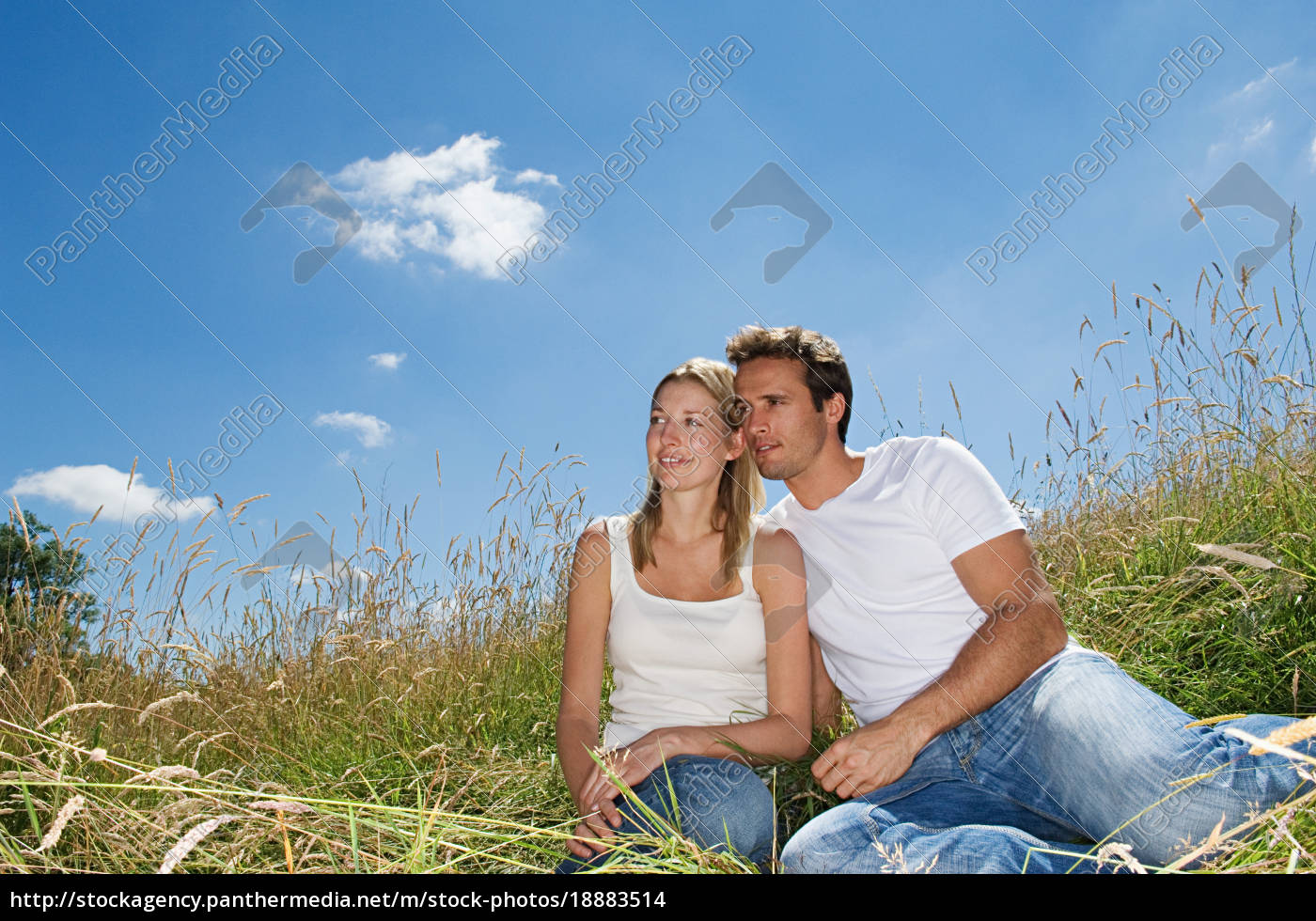 couple, sitting, in, a, field - 18883514