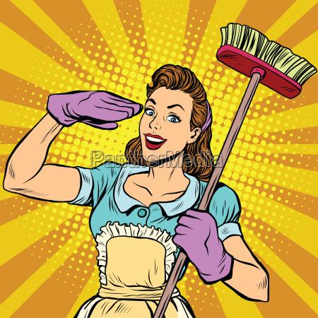 limpiador de limpieza femenina pop art