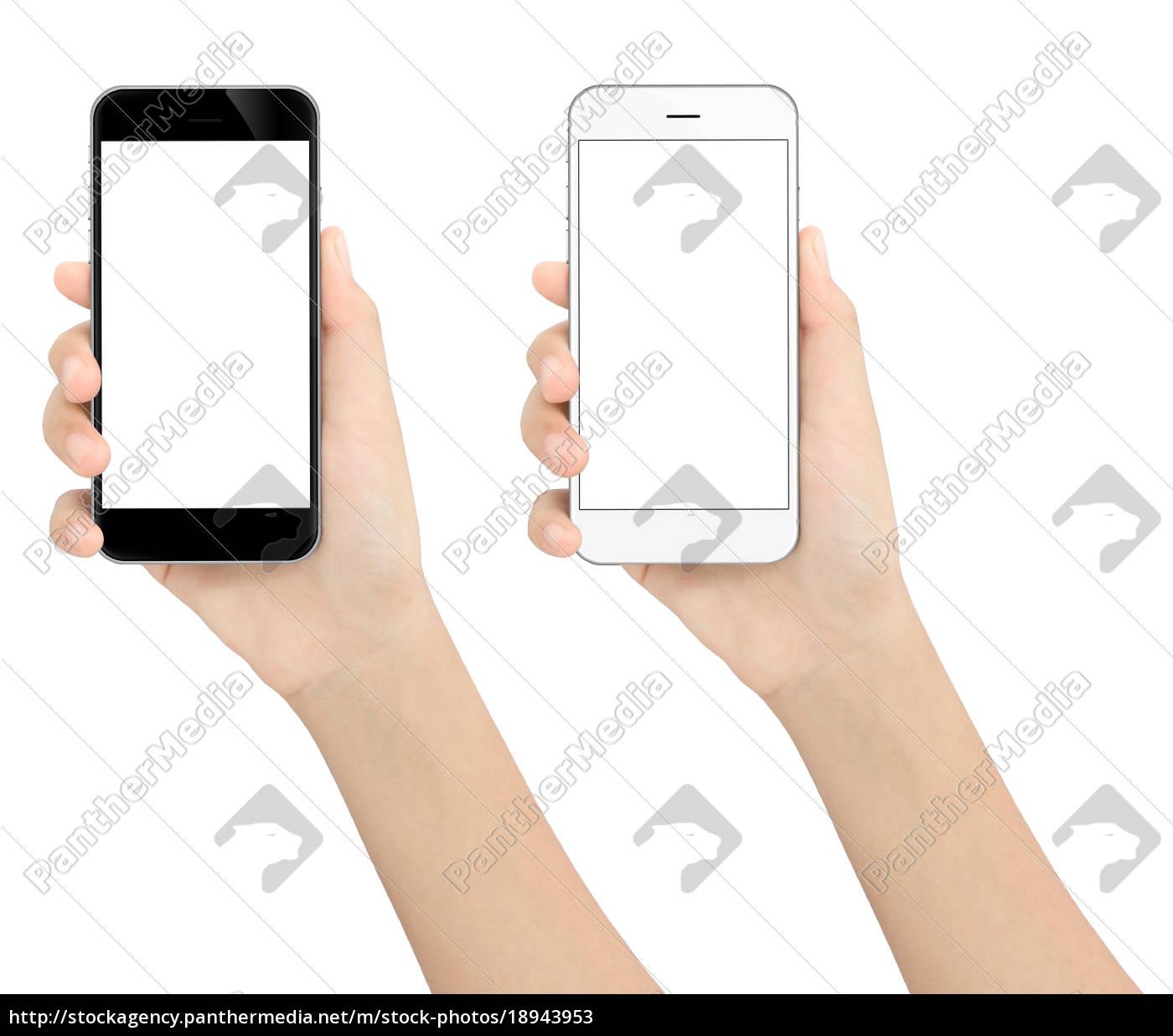 mano, sosteniendo, teléfono, blanco, y, negro - 18943953