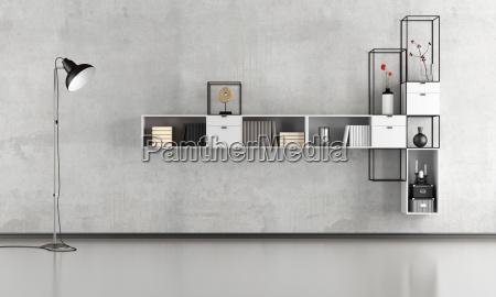 salón, minimalista, en, blanco, y, negro - 19072495
