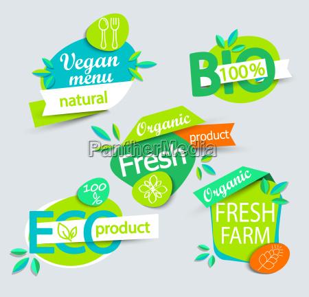 conjunto de etiquetas de alimentos organicos