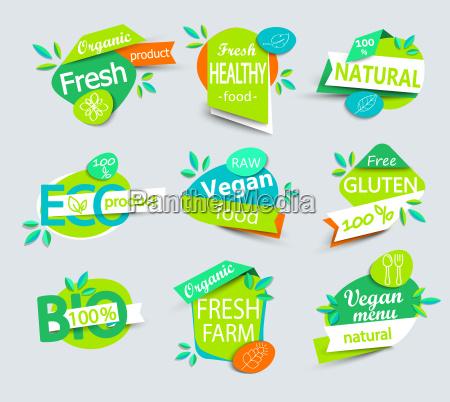 vector conjunto de etiquetas saludables de