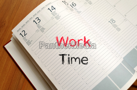 work time text concept on notebook