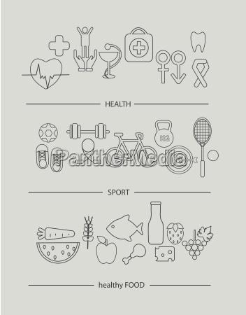 moderna linea delgada iconos conjunto de