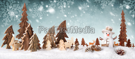 wood decoration background with snow design