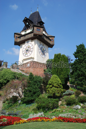 rose garden clock tower graz state