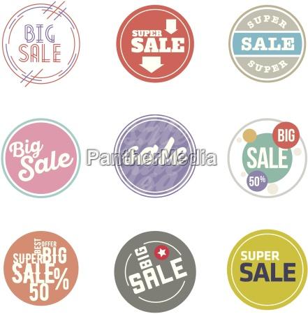 vector circle sale sticker set desaturate