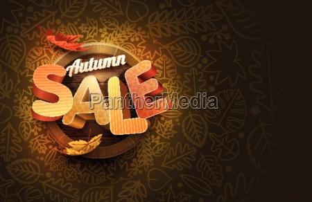 vector autumn sale design with leaf