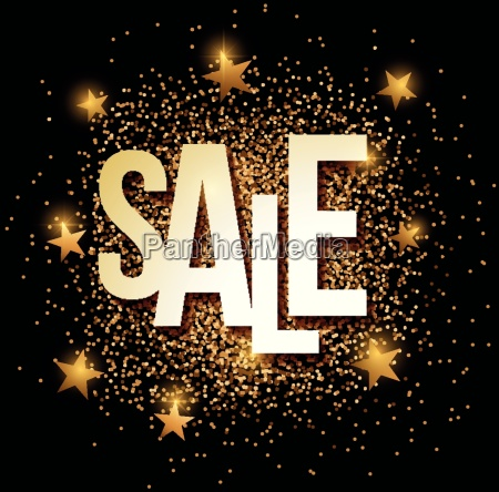 sale banner with gold glitter vector