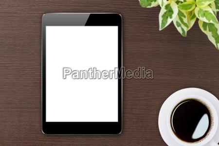 digital tablet blank screen on wood