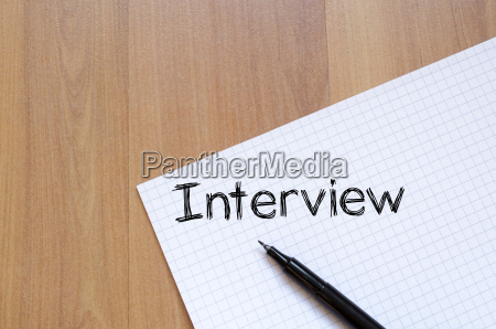 interview text concept on notebook