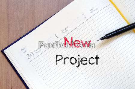 new project text concept on notebook