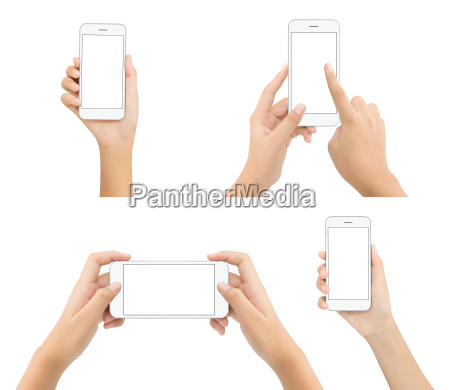 hand hold phone blank screen isolated