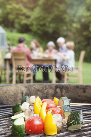 vegetable skewers on barbecue grill with
