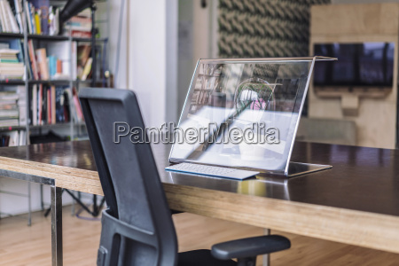 futuristic computer on desk in creative
