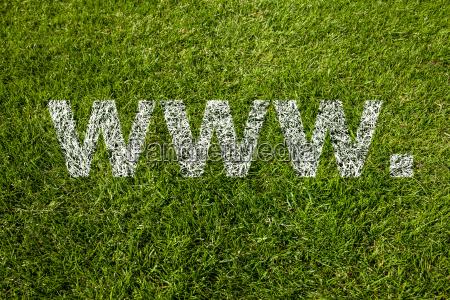 www text on meadow