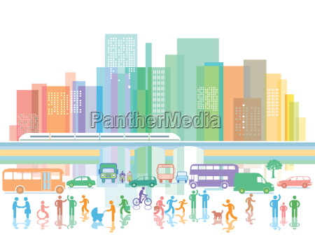 big city with people and traffic