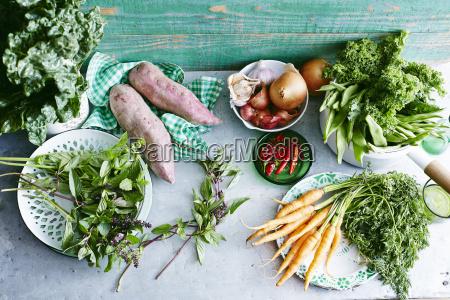 bodegones de menta fresca batatas zanahorias