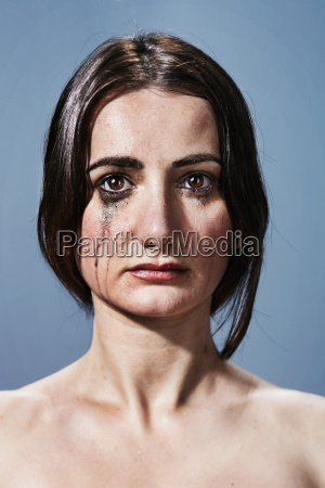 woman, crying, with, makeup, smudges, on - 19450546
