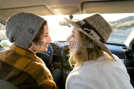 rear view of young couple in