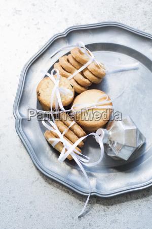 overhead view of shortbread cookies tied